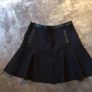 Black skirt with leather trim